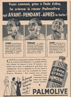 Crème à raser Palmolive - magazine Paris-Match du 13 avril 1939