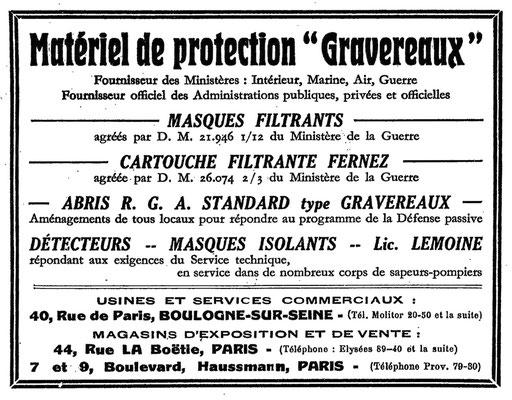 Annonce presse de juillet 1935 (source site lesgravereaux.marret.co)