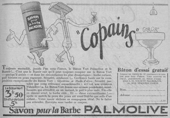 Savon à barbe Palmolive - magazine Chasseur français de février 1934