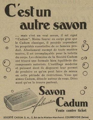 Savon cadum - jounal l'Echos de Nancy du 24 juin 1941