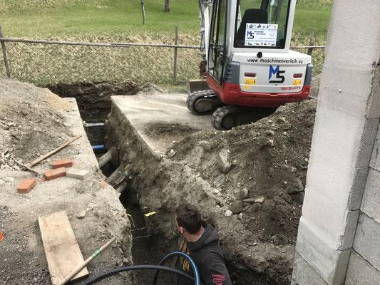 Wasser und Stromanschluss graben mit 3,0to Bagger Groppensteinschlucht Obervellach