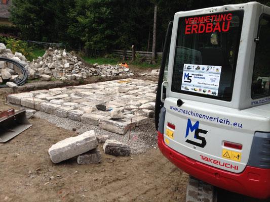 Naturstein Pflaster Mallnitz Ankogel Parklatz Errichtung Nationalpark Hohe Tauern