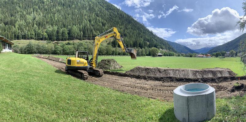 Kanalbau Erdarbeiten Mölltal Oberkärnten mit 15to Bagger