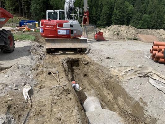 Oberflächen Wasser Kanal Wasserleitung Kabel graben verlegen Osttirol und Oberkärnten