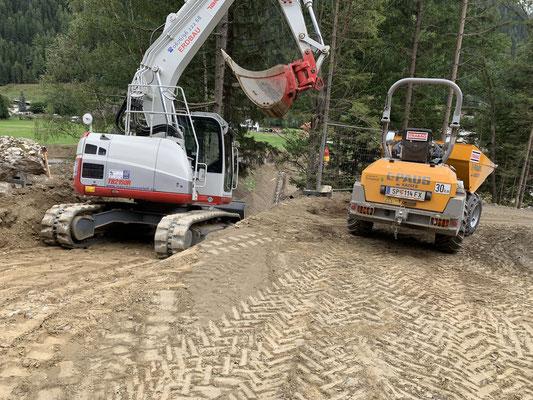 Baggerarbeiten in der Gemeinde Mallnitz Hoch Oben