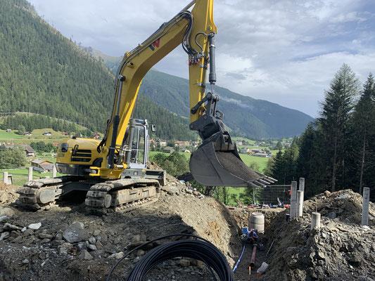 Erdarbeiten in Mallnitz Kanalbau Baustelle Hoch Oben