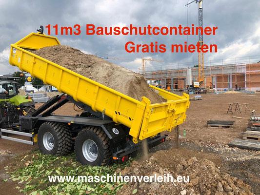 11m3 Bauschuttmulde mit Dumper und Minibagger beladen