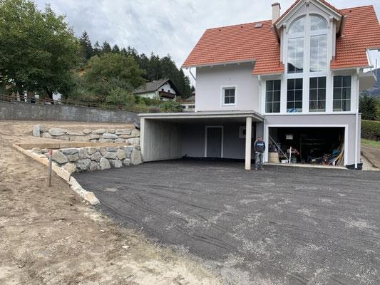 Steinmauer Außenanlage Unterbau Feinplanie Baggerarbeiten Erdarbeiten Erdbau Penk Gemeinde Reiseck