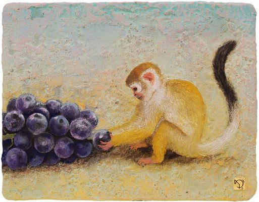 葡萄に猿 F6号