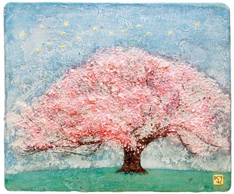 桜と空 F8号