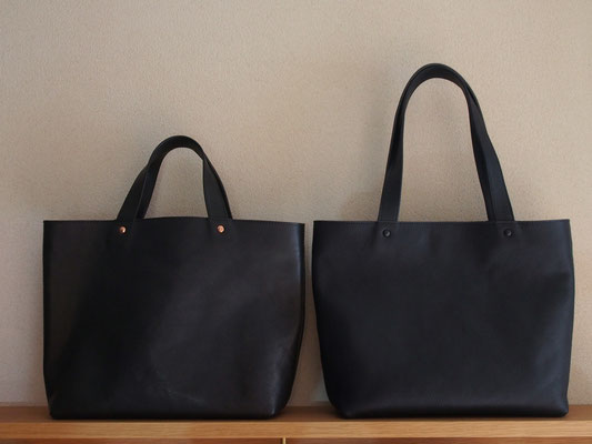 京都のバッグメーカー 革や帆布製のかばん・小物 レザーバッグ レザートート(ネイビー・特注品)