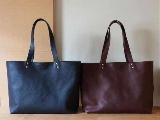 京都のバッグメーカー 革や帆布製のかばん・小物 レザーバッグ レザートート(ネイビー カカオ)