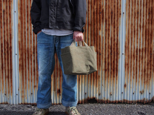 soft cube bag - olive drab/milk