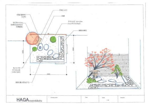 K様邸の坪庭の設計図