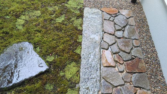 延段と飛石と苔