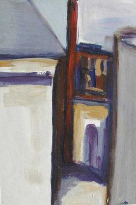 Gasse mit Schlot (Münzstraße Hinterhof): 1990, Tempera,36 x 25 cm