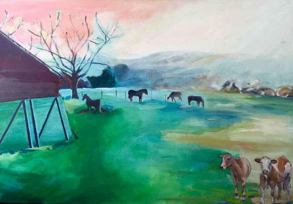 Weide im Morgengrauen 02, 2018, Mischtechnik auf Leinwand, 100  x 150 cm