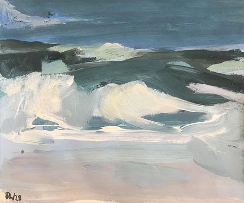 Brandung 2, 2020, Mischtechnik-Papier, 25x30 cm