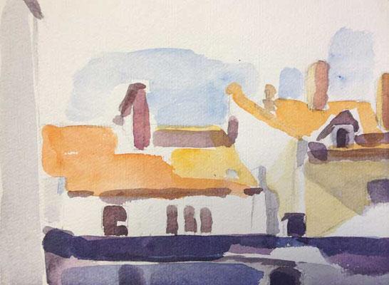 Dächer 1: 2013, Aquarell,18 x 24 cm