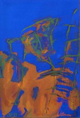 Kopfhänder, Mischtechnik auf Leinwand, 1999, 110 x 75 cm