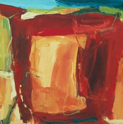 """ohne Titel, aus der Serie """"Campus"""", Mischtechnik auf Leinwand, 2001, 72 x 72 cm"""