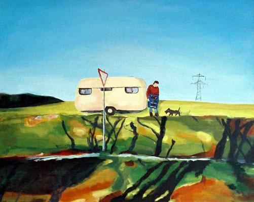Wochenendidyll, 2005, Acryl auf Leinwand, 90 x 110 cm