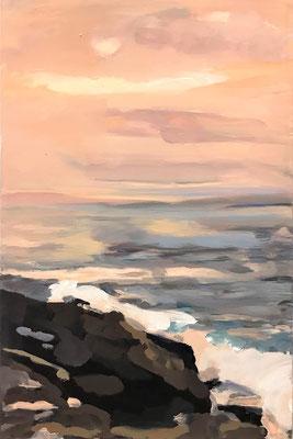 Brandung im Abendlicht, 2020, Mischtechnik-Leinwand, 75 x 50 cm