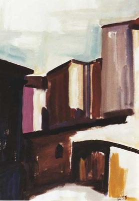 Altstadt-Ritterstraße: 1990, Tempera, 46 x 34 cm