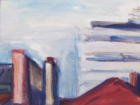 Fernmeldehochhaus: 1990, Tempera, 20,5 x 29 cm
