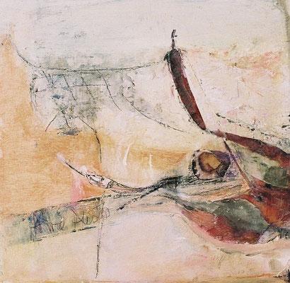 A– wie Auster, 2007, digitale Fotocollage und Mixed Media auf  Holz, 35 x 35 cm