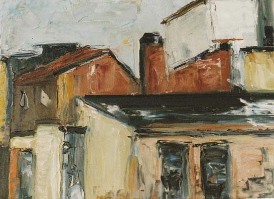 Stadtansicht/Brunnenstraße: 1991, Öl auf Holz, 30 x 40 cm