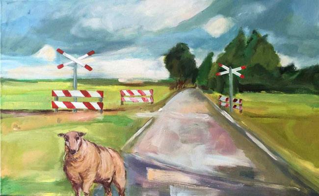 Schaf am Gleis, 2016, Mischtechnik auf Leinwand, 50  x 80 cm