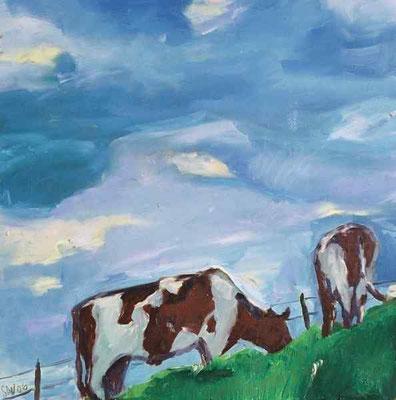 Kühe am Hang, 2006, Öl auf MDF-Platte, 37 x 36 cm