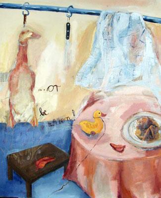 Abgehangene Ente mit Lieblingsspielzeug, 2004, digitale Fotocollage und Mixed Media auf LW, 110x90 cm