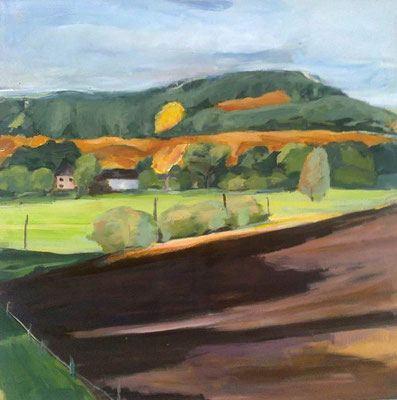 Herbstacker, 2011, Mischtechnik auf Leinwand, 100 x 100 cm