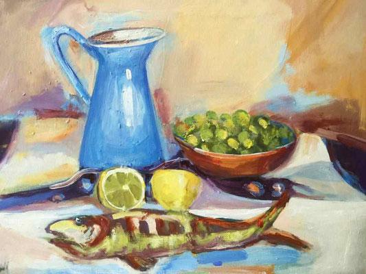 Fisch, Krug und Zitrone, 2016,Mischtechnik auf LW, 55 x 70 x 5 cm