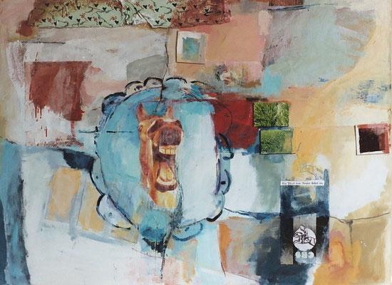 Da freut sich Fallada, dass er kein Schlachtross ist, 2003, digitale Fotocollage und Mixed Media auf Leinwand, 110x150 cm