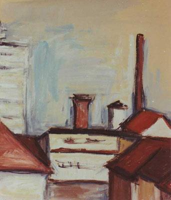 Blick auf Fernmeldehochhaus: 1991, Tempera, 68 x 46 cm