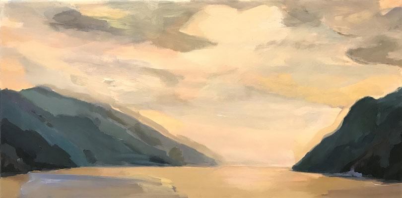 Abendstimmung am Gardasee, 2020, Mischtechnik-Leinwand, 30 x 90 cm