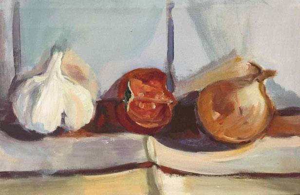 Knoblauch, Tomate, Zwiebeln, 2016, Mischtechnik auf LW, 30x 60 cm