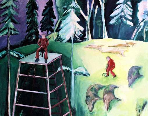 König der Schützen, 2006, Öl/ Acryl auf Leinwand, 90 x 110 cm