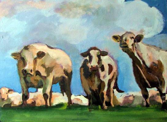 Kühe vor Gewitterhimmel, 2010, Öl auf Holz, 56 x 40 cm