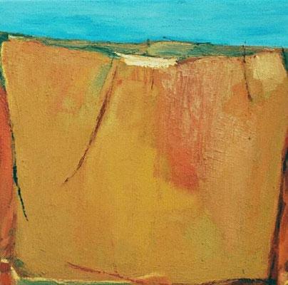 """ohne Titel, aus der Serie """"Campus"""", Mischtechnik und Sand auf Leinwand, 2001, 50 x 50 cm"""