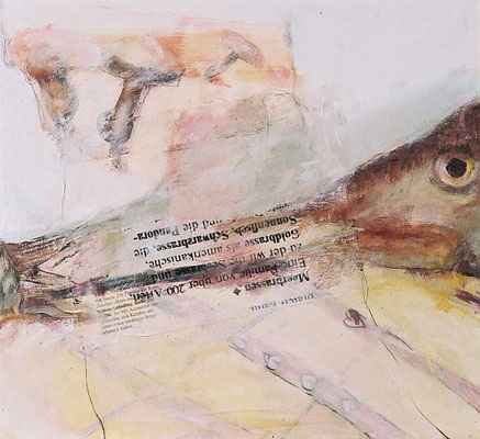 Meerbrassen, 2008, digitale Fotocollage und Mixed Media auf  Holzkasten, 50x50 cm