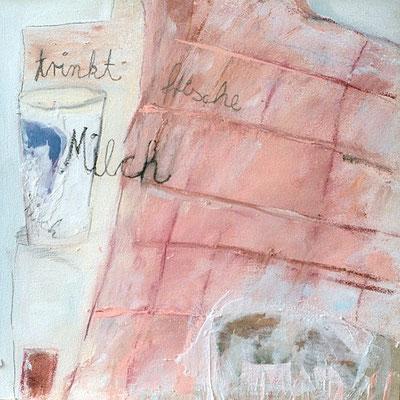 Trinkt Milch  2, 2006, digitale Fotocollage und Mixed Media auf Holz, 35 x 35 cm