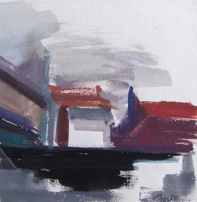 Altstadtdächer I: 1989, Tempera, 20 x 20 cm