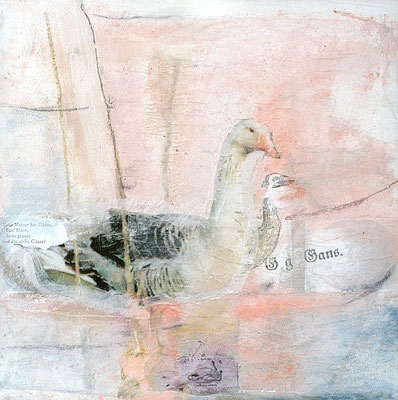 G – wie Gans, 2006, digitale Fotocollage und Mixed Media auf  Spanplatte, 35x35 cm