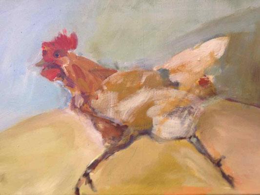 Fluchthuhn, 2013, Acryl auf LW, 40 x 60 cm