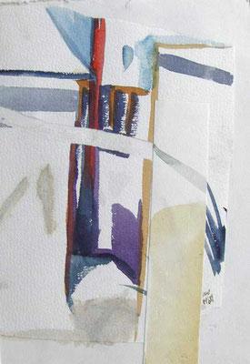 Gasse: 1989, Aquarellcollage, 28 x 20,5 cm
