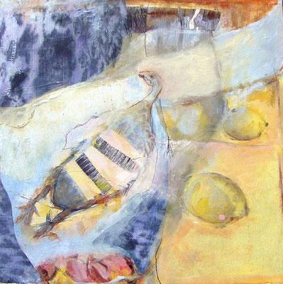 Gebratener Fasan, 2009, digitale Fotocollage und Mixed Media auf Holzkasten, 50 x 50 cm